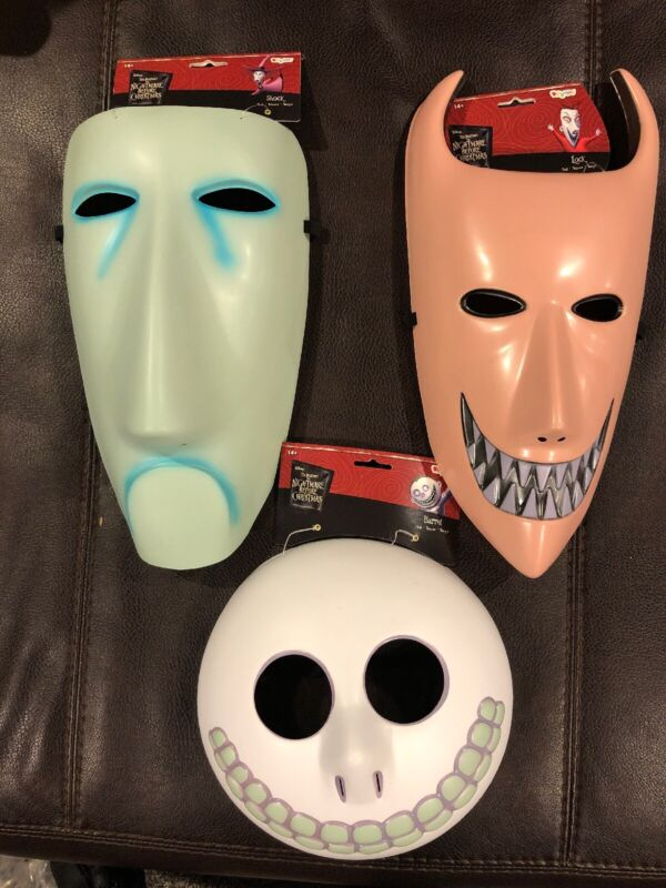 Disney Nightmare Before Christmas Lock Shock Barrel Halloween Costume 3 Mask Set
