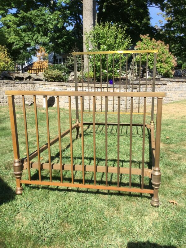 Antique Victorian Brass Full Size Bed 1900's Tall Headboard