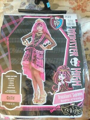 Kids Draculaura Costume (Monster High Draculaura Supreme Costume Child Size 12-14 Large New Dress-up)
