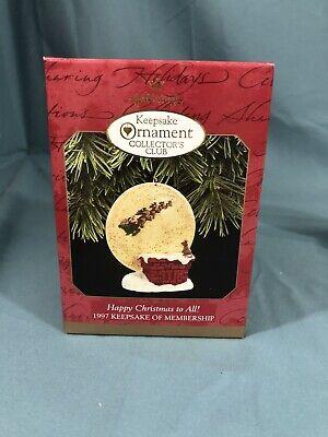 RARE 1997 NEW HALLMARK HAPPY CHRISTMAS TO ALL KEEPSAKE ORNAMENT - Used