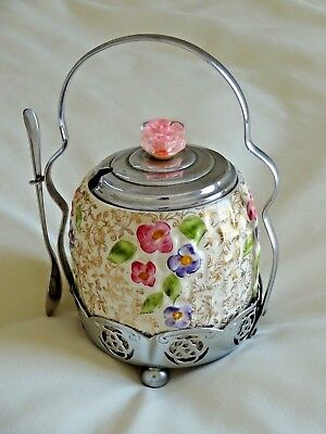 VINTAGE WADE HAND PAINTED SUGAR BOWL WITH SMALL G SOLA Z SPOON  AND STAND