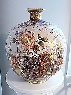 "KINKOZAN SIGNED HUGE SUPERB DESIGN SATSUMA VASE! 12"" HIGH! AMAZING ARTISTRY!"