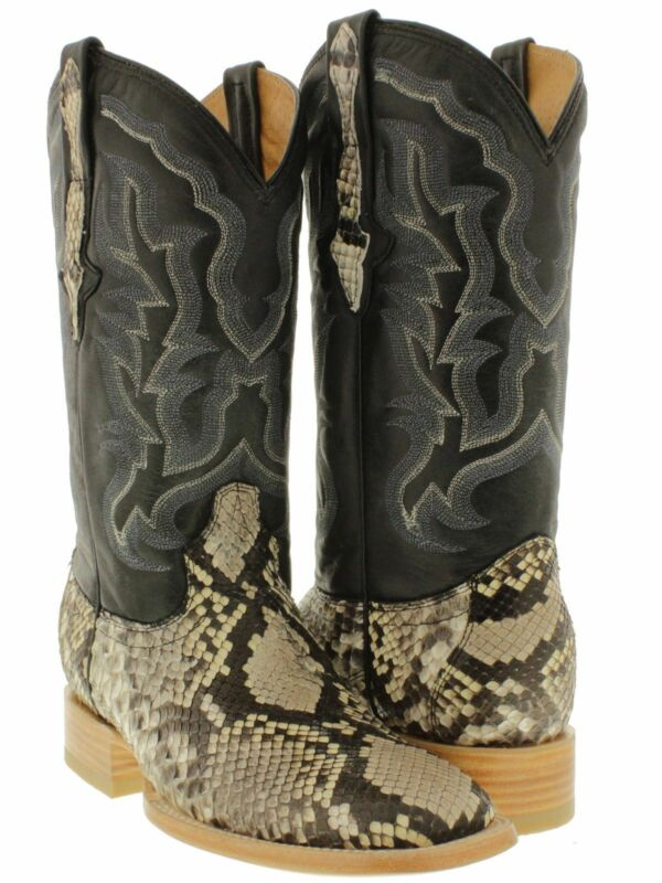 Mens, Python, Belly, Real, Snake, Skin, Boots, Leather, Rodeo, Cowboy, Western, Exotic