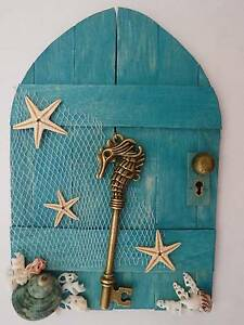 Wooden Fairy Door - Teal Blue - Beach Style - Starfish & Shells Prestons Liverpool Area Preview