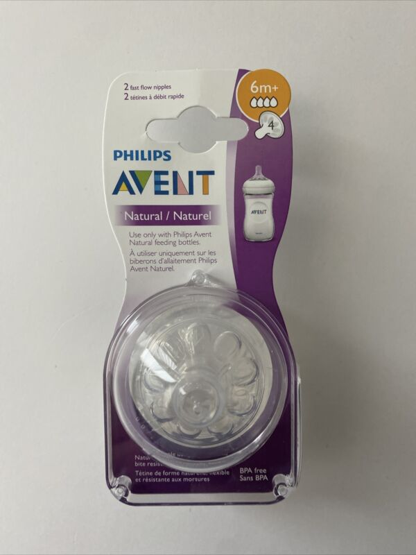 Philips AVENT Natural Nipples Pack Of 2 Nipples 6m+ Fast Flow