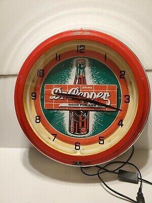 """Vintage Dr Pepper Neon Clock Sign Works SUPER RARE """"Drink Dr Pepper Good ForLife"""