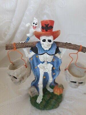 CLEARANCE! VTG Halloween Skeleton w/Top Hat Halloween tea light - Jaimy Resin!!!