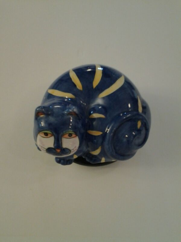Milson and Louis Hand Painted Blue Cat Trinket Box