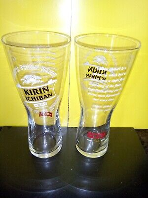 """2""KIRIN ICHIBAN JAPANESE BEER PINT GLASSES.PLUS FOC """"""FREE""""""  VOTIVE CANDLES"