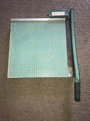 Vintage Premier Guillotine Paper Cutter Trimmer 16x16 Heavy Green Wooden