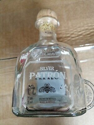 Patron Silver Tequila bottle 375ml empty With Cork