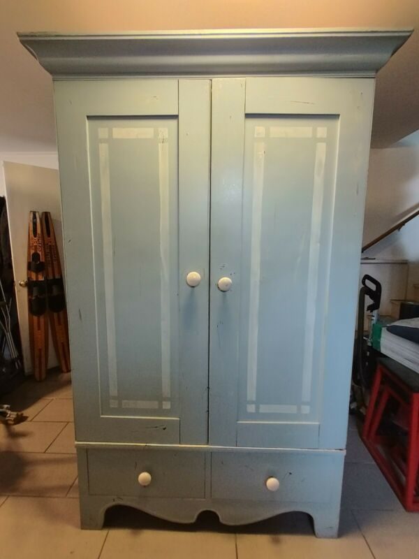 Large Painted French Country Armoire