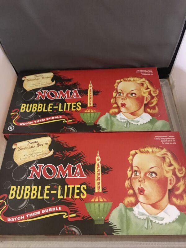 LOT OF 2 NOMA Christmas Bubble Lites Nostalgia String of 7 Lights Per Box