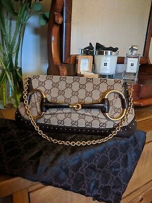 Authentic Gucci Vintage Shoulder Bag/Clutch Beige GG Monogram  STUNNING!