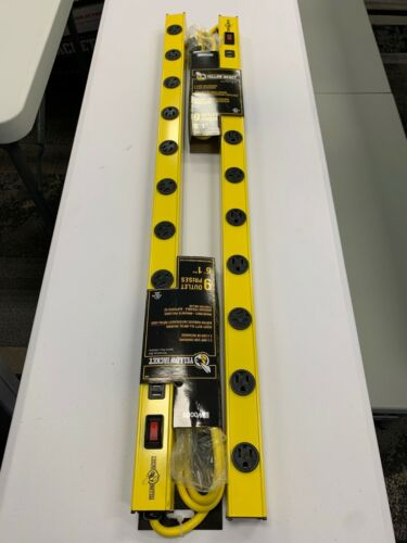 NEW! 2-Pack Yellow Jacket Power Strip  9 Outlets & 2 USB Charge Ports (2.4 AMP)