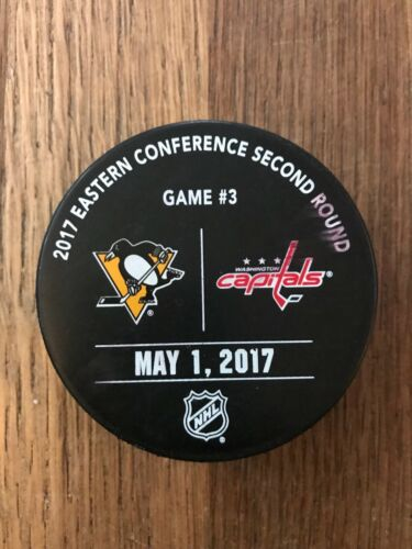 Pittsburgh Penguins Washington Capitals Game Used Playoff Warm Up Puck 2017 3 A