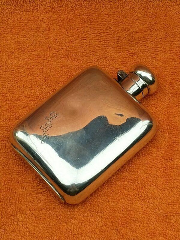 """Antique Silver Plate 4oz Hip Flask, Twist Hinged Cap """"Despatch"""" C1900"""