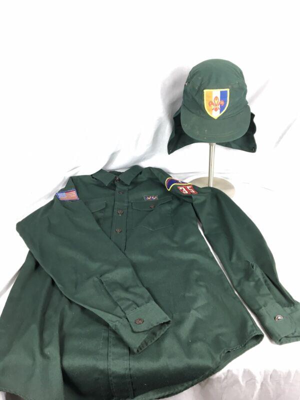 Vtg BSA Boy Scouts Explorers Uniform Sanforized Shirt Hat With Neck Flap 1970s