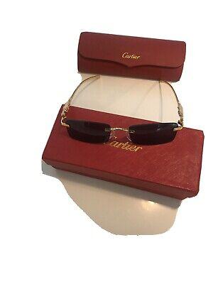 Cartier Glasses Rimless Gold 53mm Sunglasses Glasses Vintage Frame buffalo