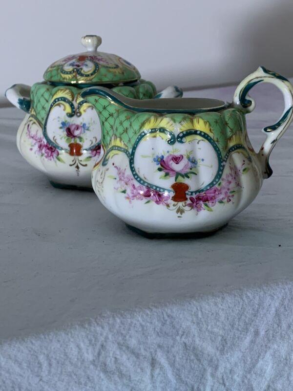 Vintage Antique Sugar Bowl And Creamer Pitcher Porcelain