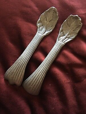Vintage Pewter Salad Tongs Serving Pieces Spoons Leaves Pewter Serving Pieces