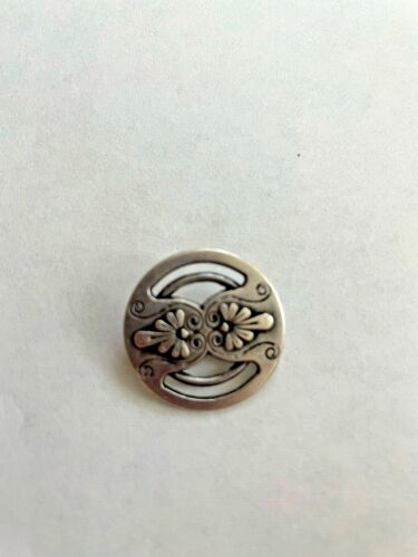VINTAGE METAL BUTTON WITH FLOWERS AND OPEN WORK , NBS MEDIUM SIZE