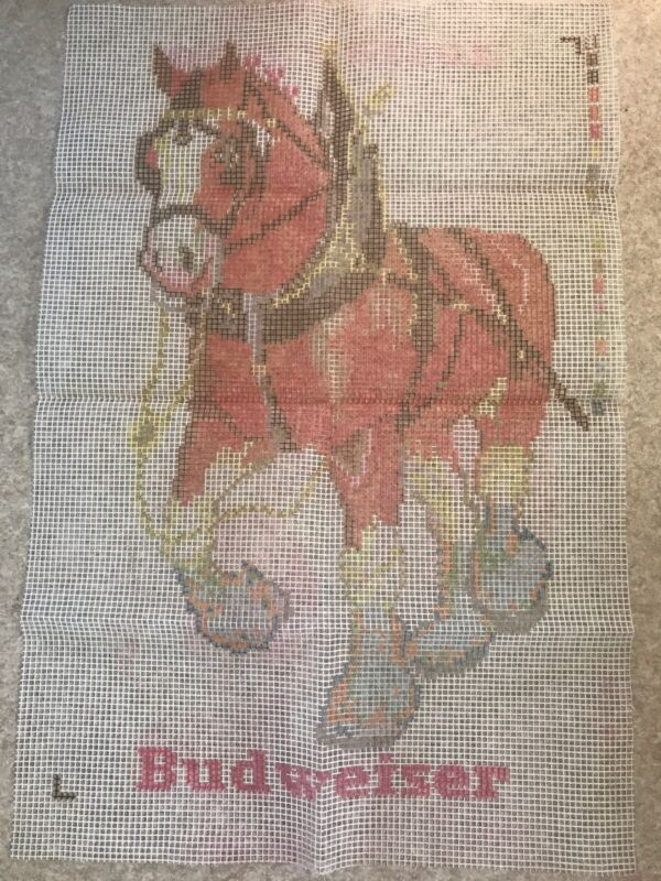 """Vintage Paragon latch hook rug canvas 26""""x40"""" Budweiser Clydesdales Canvas Only"""