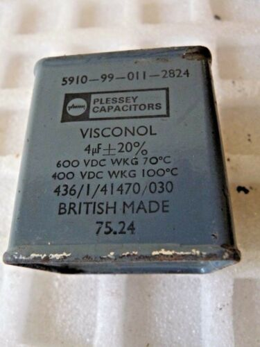 4µF 4UF 4MFD ± 20% 600VDC  Plessey TCC Visconol Oil Filled Block Paper Used E 1