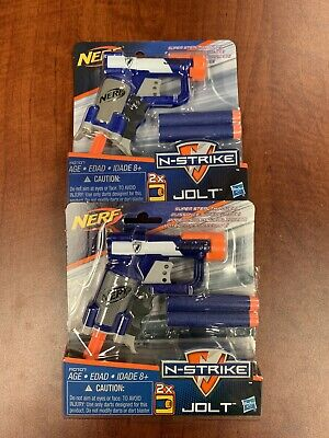 (2) NERF N-STRIKE JOLT Blaster Toy Guns w/ 2 Elite Darts & Cocking Handle NEW