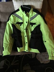 Motorcycle jacket with protection highlighter yellow