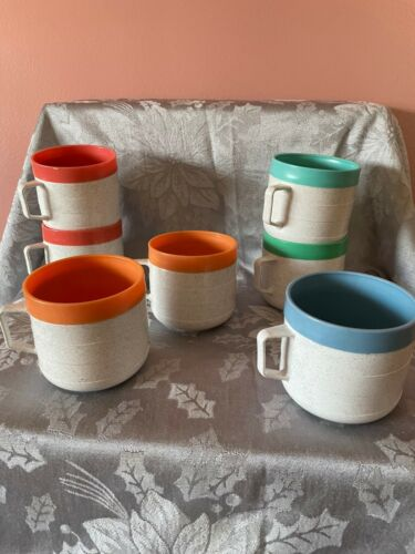 Vintage Never Used 8 Cornish Therm-o Coffee Cup Multi Color Band