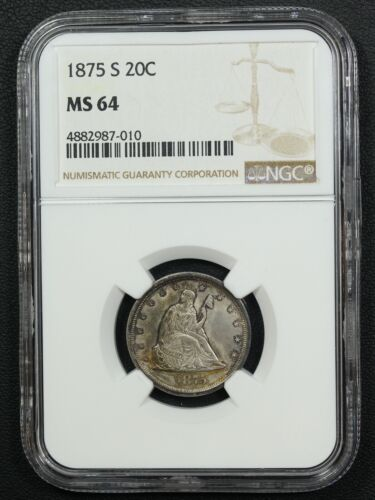 1875 S Silver Twenty Cent Piece NGC MS 64