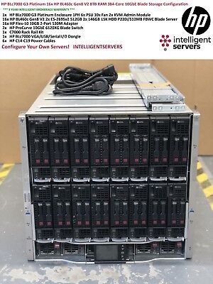 HP BLc7000 G3 16x HP BL460c Gen8 V2 384-Core 8TB RAM 10GbE Blade Server Solution