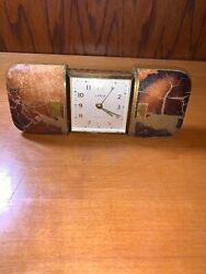 Vintage 1950's Semca Clovk 7 Jewels Travel Clock With Leather Outside