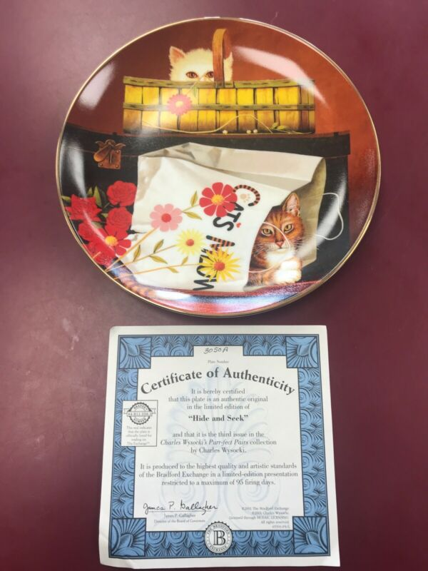 """2001 BRADFORD EXCHANGE PURR-FECT PAIRS CAT PLATE """"HIDE AND SEEK"""" 3rd ISSUE"""