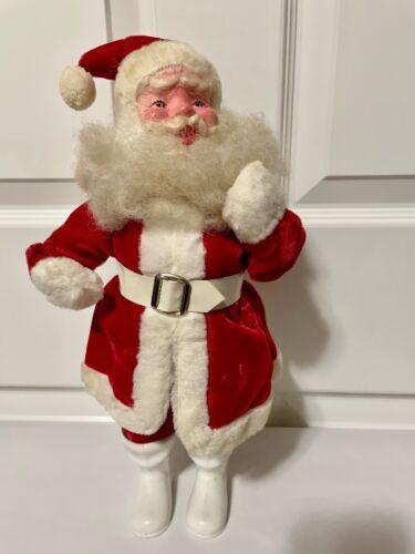 """Vintage 14"""" Plush Santa White Boots Mohair Beard Velvet Suit 50"""