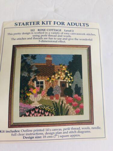 Vintage English Rose Cottage Needlepoint Kit