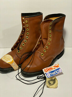 Vintage IRON AGE Brown Leather  Motorcycle Logger Work Boots Size 10 Men's NOS