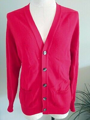Vintage GLEN ABBEY Womens L Red 100% Cashmere Cardigan Sweater Ireland