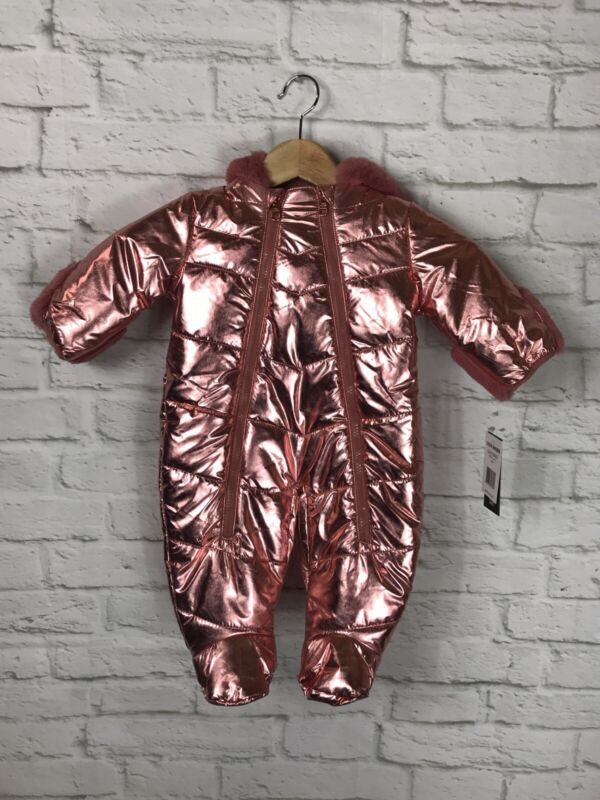 NEW Steve Madden Baby Girl Metalic Pink Snowsuit Size 3/6 Months