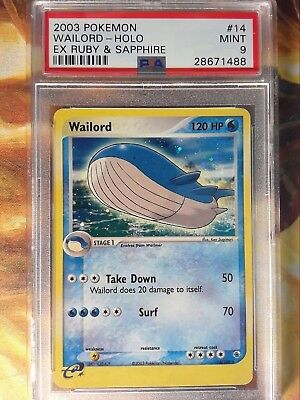 2003 Pokemon EX Ruby & Sapphire 14 Wailord-Holo PSA 9 MInt for sale  Bridgewater