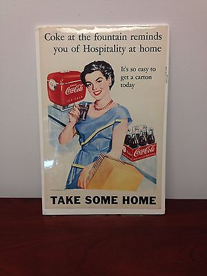 Vintage 1949  Coke At The Fountain  Rare   Litho Paper Poster Advertising Sign