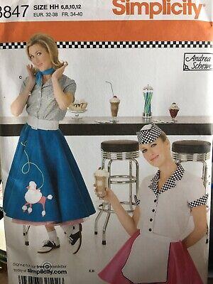 Plus Size Poodle Skirt Pattern (Simplicity Poodle skirt costume diner waitress sewing pattern size 6-12 uncut)