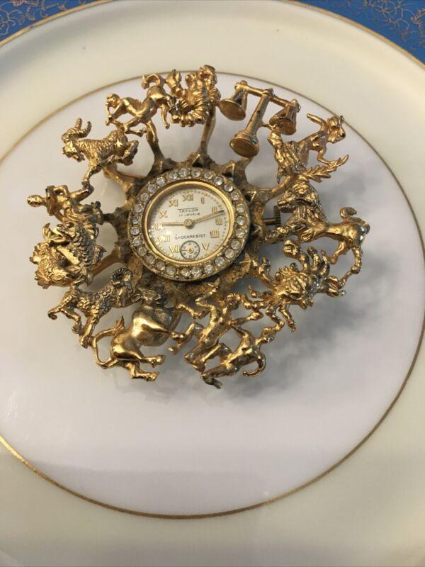 Vintage TAYLOR 17 Jewels Sterling Silver Gilded Zodiac Crystal Watch Brooch