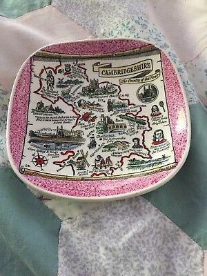 Vintage Dartmouth Britannia Designs Cambridgeshire Map Ceramic Pin Dish