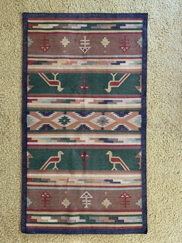 "Vintage Native American Indian Rug / Tapestry 30""x54"" Geometric Figures symmetry"