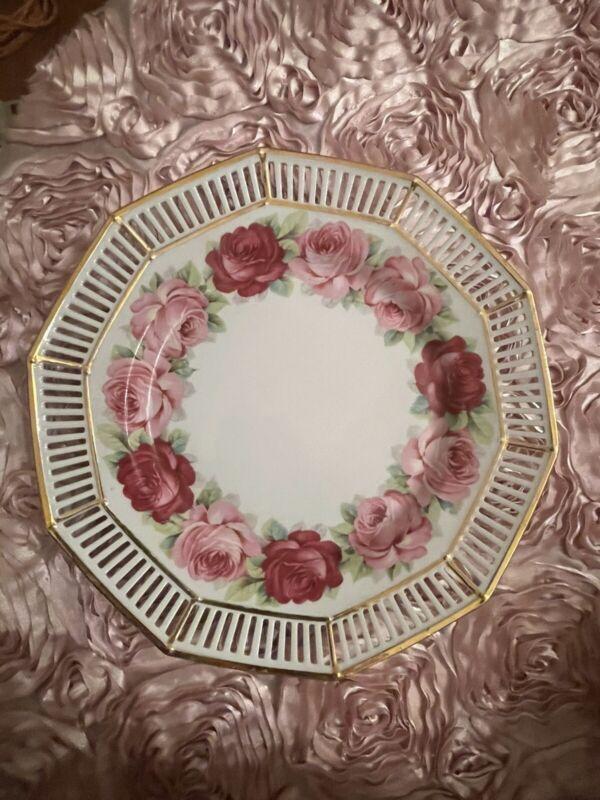 Vintage Decagon Pink Fuchsia Rose plate Germany ERPHILA dessert/pie plate