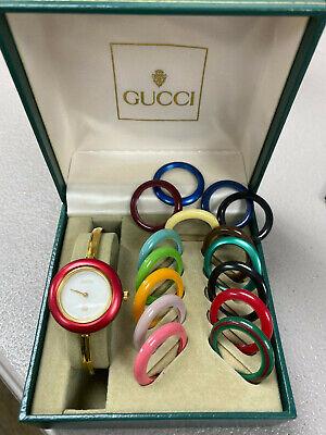 Gucci 11/12 Vintage Gold Tone Interchangeable Bezel Ladies Bangle Wristwatch