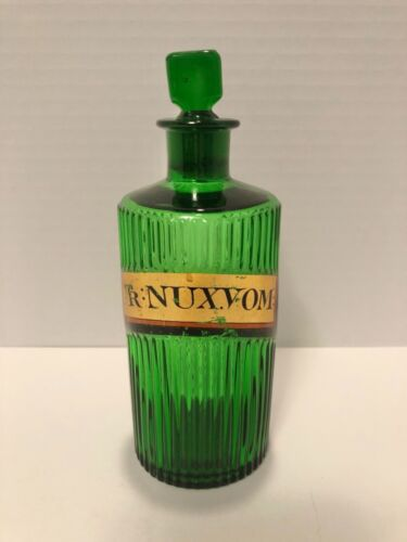 "Green Poison Apothecary Bottle ""Tr Nux.Vom:"""