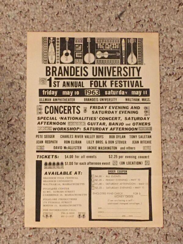 ORIGINAL BOB DYLAN 1963 CONCERT POSTER BRANDEIS UNIV FOLK FESTIVAL REAL !
